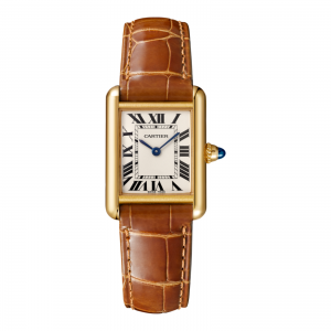 Tank Louis Cartier watch Small model 18K yellow gold leather sapphire