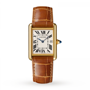 Tank Louis Cartier watch Large model yellow gold leather sapphire