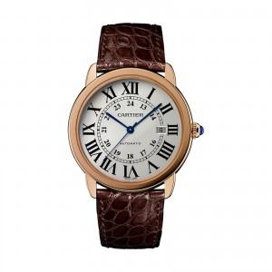 Ronde Solo de Cartier watch 42 mm 18K pink gold steel leather