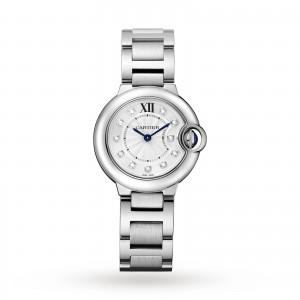 Ballon Bleu de Cartier watch 28 mm steel diamonds