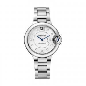 Ballon Bleu de Cartier watch 33 mm steel diamonds
