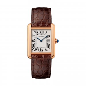 Tank Solo watch Small model steel Small model 18K pink gold and steel leather