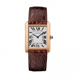 Tank Solo watch Large model 18K pink gold and steel leather