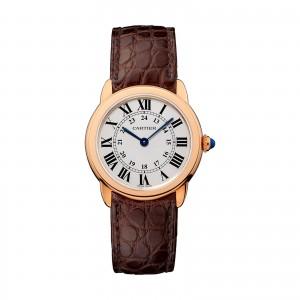 Ronde Solo de Cartier watch 29 mm 18K pink gold steel leather