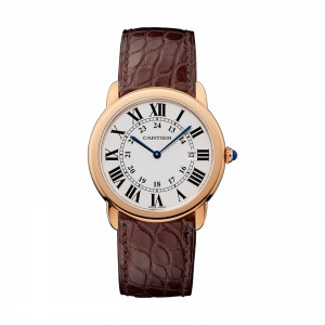Ronde Solo de Cartier watch 36 mm rose gold steel leather