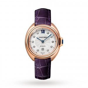 Clé de Cartier watch 31 mm rose gold leather diamonds