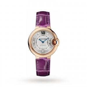 Ballon Bleu de Cartier watch 33 mm 18K rose gold diamonds leather