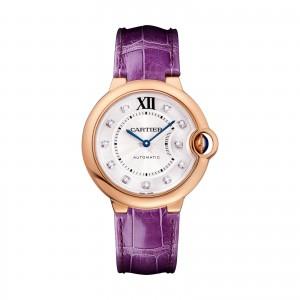 Ballon Bleu de Cartier watch 36 mm 18K pink gold leather diamonds