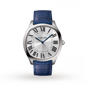 Drive de Cartier Extra-Flat watch Steel leather