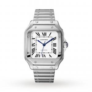 Santos de Cartier watch Medium model automatic steel interchangeable metal and leather bracelets
