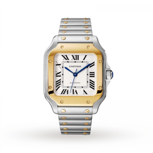 Santos de Cartier watch Medium model automatic yellow gold and steel interchangeable metal and leather bracelets