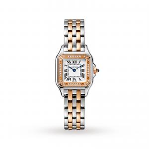 Panthère de Cartier watch Small model rose gold and steel diamonds