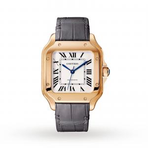Santos de Cartier watch Medium model automatic rose gold 2 interchangeable leather bracelets