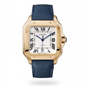 Santos de Cartier watch Large model automatic rose gold 2 interchangeable leather bracelets