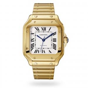 Santos de Cartier watch Medium model automatic yellow gold interchangeable metal and leather bracelets