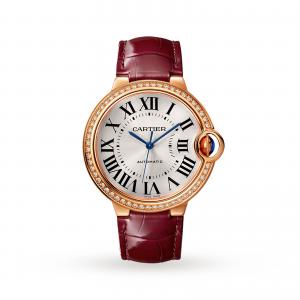 Ballon Bleu de Cartier watch 36 mm rose gold diamonds leather