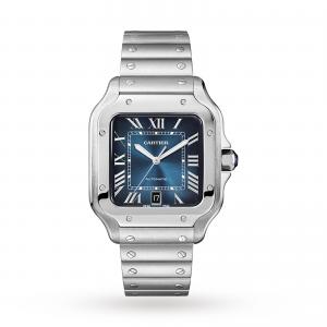 Santos de Cartier watch Large model automatic steel interchangeable metal and leather bracelets