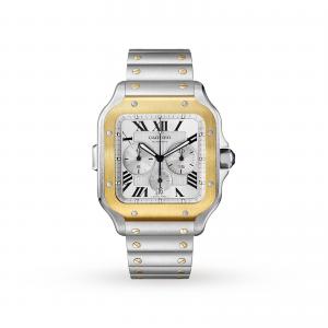 Santos de Cartier Chronograph watch XL model chronograph gold and steel interchangeable metal and rubber bracelets