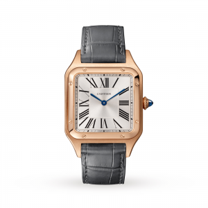 Santos-Dumont watch Large model pink gold leather