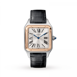 Santos-Dumont watch Large model 18K pink gold and steel leather