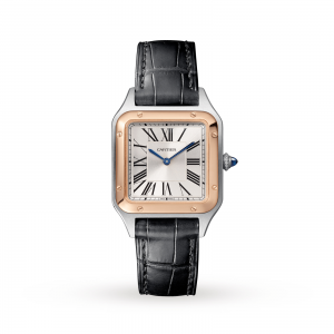 Santos-Dumont watch Small model 18K pink gold and steel leather