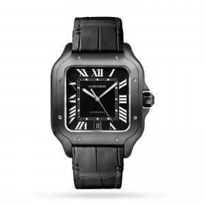 Santos de Cartier watch Large model automatic steel ADLC interchangeable rubber and leather bracelets