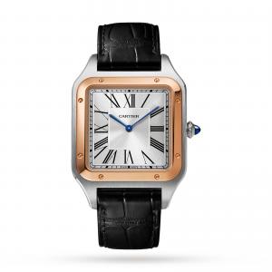 Santos-Dumont watch XL model rose gold and steel leather bracelet