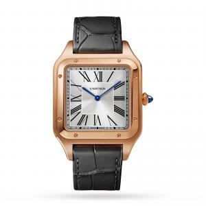 Santos-Dumont watch XL model rose gold leather strap