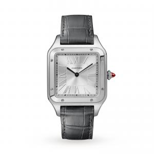 Santos-Dumont watch LIMITED EDITION Large model platinum leather strap