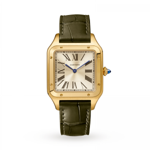 Santos-Dumont watch LIMITED EDITION Large model yellow gold leather strap