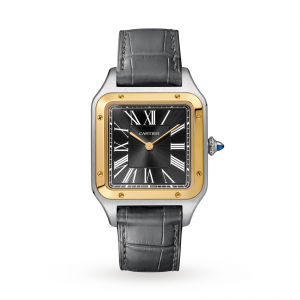 Santos-Dumont watch LIMITED EDITION Large model yellow gold and steel leather bracelet